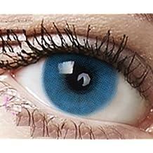 """Farbige Kontaktlinsen 3 Monatslinsen hellblau blau """"Sky Blue"""" gute Deckkraft ohne Stärke mit Aufbewahrungsbehälter"""