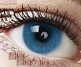 Farbige Kontaktlinsen 3 Monatslinsen hellblau blau'Sky Blue' gute Deckkraft ohne Stärke mit Aufbewahrungsbehälter