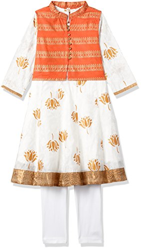 Karigari Girls' A-Line Regular Fit Cotton Salwar Suit Set (272486788_OFF-WHITE_09Y)