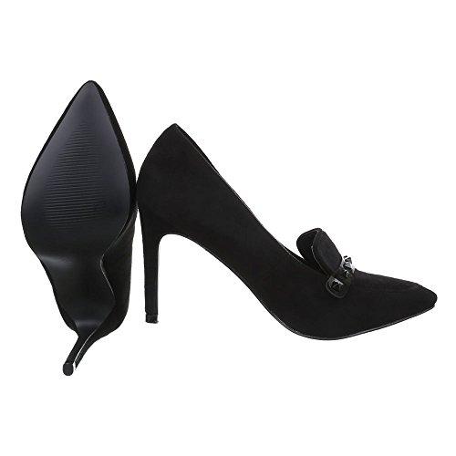 Ital-Design, jm593, Pumps Ankle Boots Schwarz EL15597-2