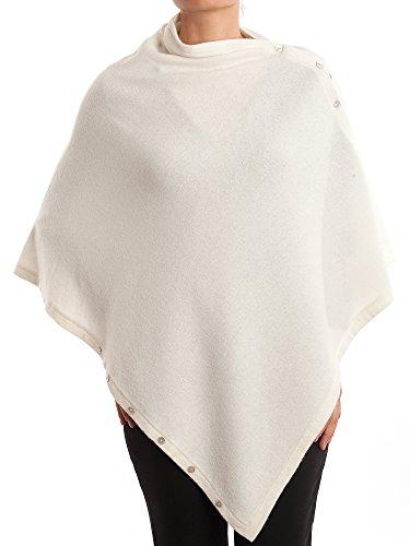 DALLE PIANE CASHMERE - Poncho mit Knöpfen aus Kaschmir-Gemisch - für Damen, Farbe: Weiß, Einheitsgröße
