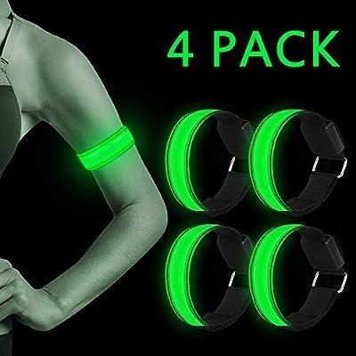 LED Armband, Nasharia 4 Stück Reflective LED leucht Armbänder Lichtband Kinder Nacht Sicherheits Licht für Laufen Joggen Hundewandern Running Outdoor Sports