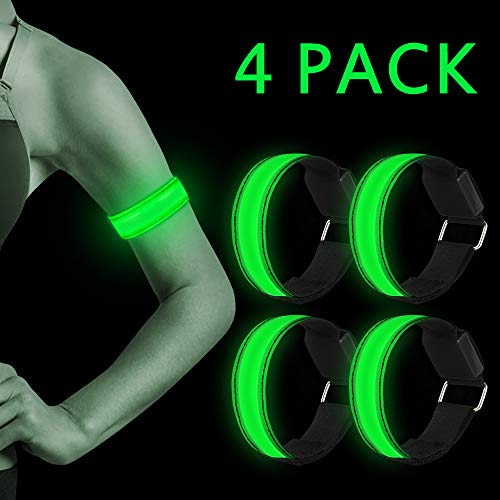 LED Armband, 4 Stück Reflective LED leucht Armbänder Lichtband Kinder Nacht Sicherheits Licht für Laufen Joggen Hundewandern Running Outdoor Sports