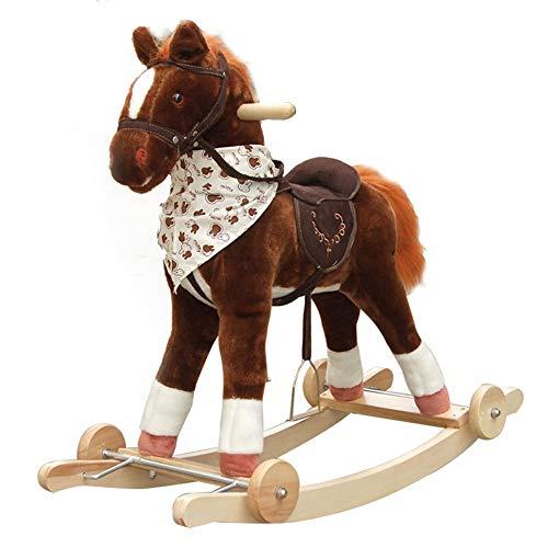 Rocking Horse Schaukeltier,Schaukelpferd Plüsch-Schaukelpferd Sound Und Räder Kinderspaß-Schaukelspielzeug Kid Wooden, Brown