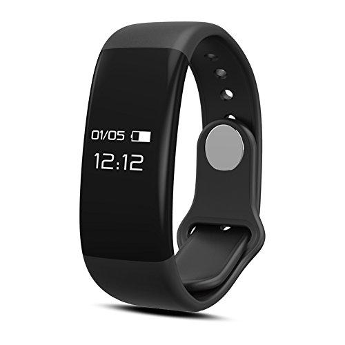 Fitness Tracker QIMAOO H30 Pulsera Deportiva Inteligente Pulsera Actividad Bluetooth 4.0 con Pulsometros,Monitor de Dormir,Monitor de Calorías,Podómetro,Monitor de Ritmo Cardiáco,Notificación de mensaje,Monitor Cardio,Pulsera Deporte para Android y IOS Te