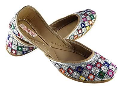 Fulkari Prime Sunshine Silver Multicolor Women's Soft Leather Bite and Pinch Free Punjabi Flat Ladies Jutti Ethnic Mojari Shoe 35