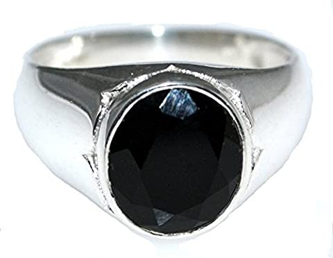 Sterling 925 Silver Black Spinel Gents Ring, Mens Signet Rings! Size W