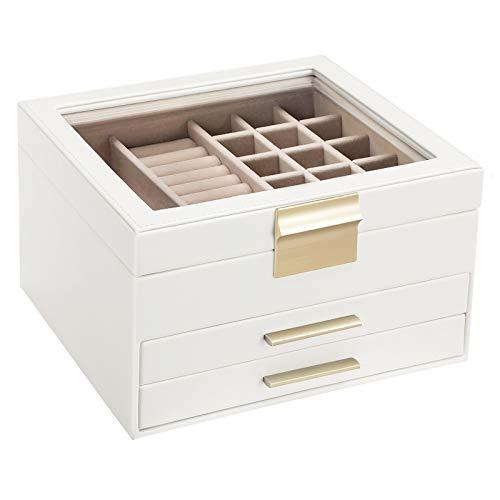 SONGMICS Schmuckkästchen mit Glasdeckel, Schmuckkasten mit 3 Ebenen, Schmuckbox mit 2 Schubladen, Schmuckaufbewahrung, Geschenk für Ihre Liebsten, weiß JBC239WT