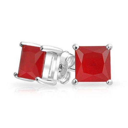2CT Quadrato Rosso Cubic Zirconia Taglio Princess AAA CZ Orecchini A Lobo Per Donne Argento 925 Rubino Simulato