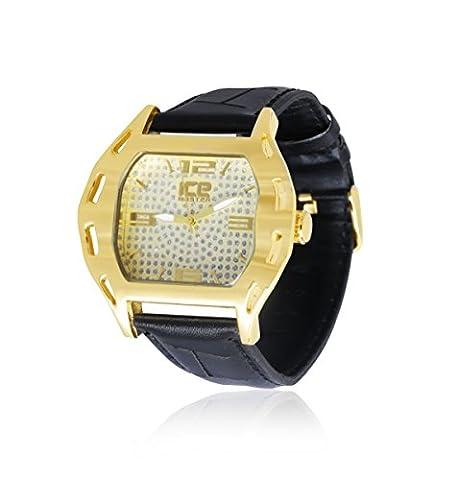 Pour homme plaqué or Bracelet cuir véritable Noir Hip Hop Bling montre