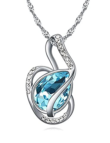 FANSING Jewellery Austrian Crystal 3.0cm*1.7cm Pendant Necklaces for Women Sea Blue 40+5cm/16+2