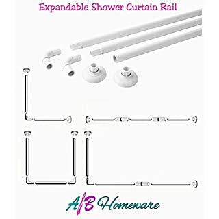 A&B HOMEWARE® EXTENDABLE SHOWER CURTAIN RAIL - ALUMINIUM L & U SHAPE 4 WAY WHITE SHOWER CURTAIN POLE (WHITE)