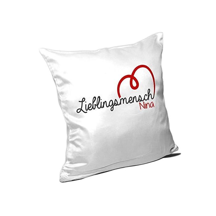 Kissen mit Namen Nina und schönem Lieblingsmensch-Motiv zum Valentinstag - Namenskissen - Kuschelkissen - Schmusekissen 1