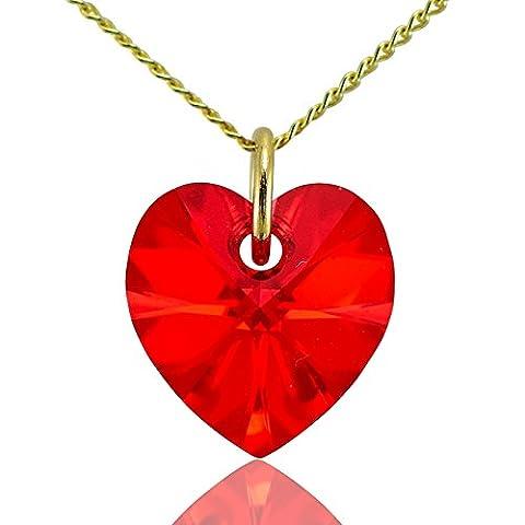 Collier cœur or massif 9ct Chaîne & Cristal Swarovski Rouge rubis 40,6cm 45,7cm 50,8cm ou pendentif uniquement: 0cm