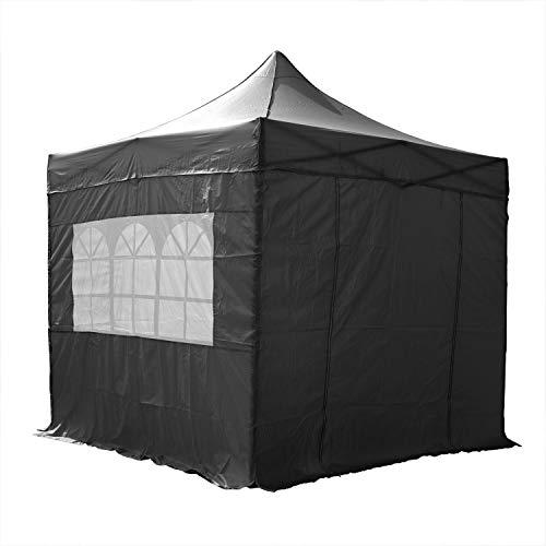 AirWave Essential Pop-Up-Pavillon, mit Seitenwänden, 2,5 x 2,5 m, Schwarz