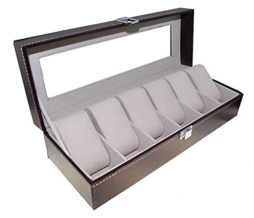 Orig. Meyer & Söhne Uhrenbox Leder für 6 Uhren Sammelbox Reisebox braun