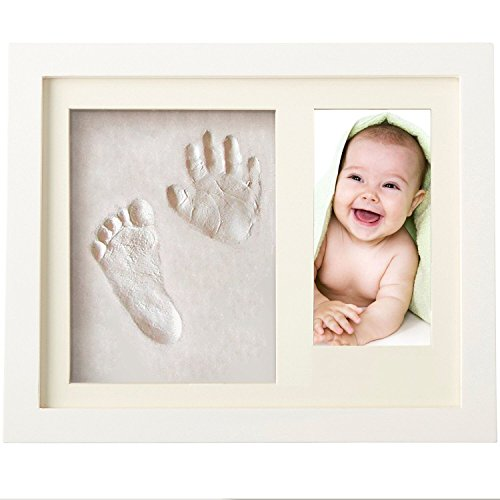 Baby Hand Print Shower Gift - Wall Keepsake Frame - Non Toxic and Safe Clay + Quality Wood Frame - First Newborn Girl Boy Registry Personalised Presents - Pregnant Mother Special Gift