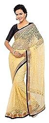 Aruna Sarees Womens Brasso Saree with Blouse Piece (Beige)