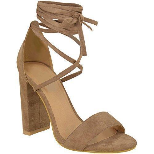 Spitze Gebunden Knöchel Umwickeln Sandalen Womens Damen High Heels Kolbig Schuh Größe - Damen, Mokkabraun Kunstwildleder, 37