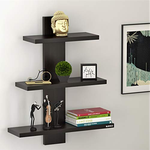 Bluewud Phelix Wall Decor Book Shelf/Wall Display Rack (3 Shelves) - Ideal for Gift.