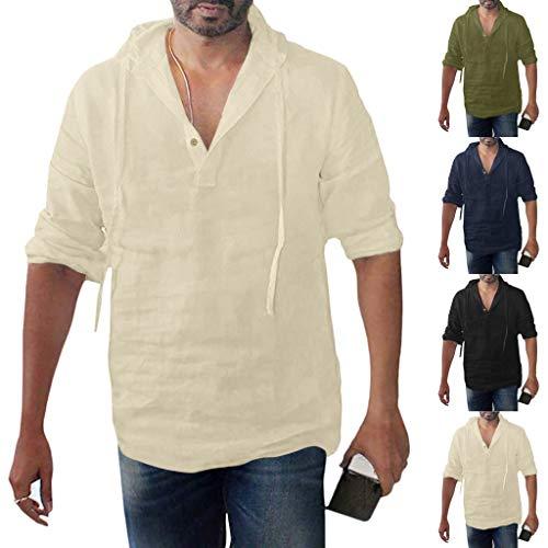 VJGOAL Herren T Shirt V Ausschnitt Lange Ärmel Einfarbig Große Größen Beiläufig Baumwolle und Leinen Tasten Mit Kapuze Lose Men Tops M-XXXL