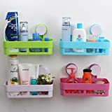 Piyuda Bathroom Removable Kitchen Sink Sponge Storage Organizer Holder Basket Plastic Vacuum Suction Bathroom Shelf Storage Rack