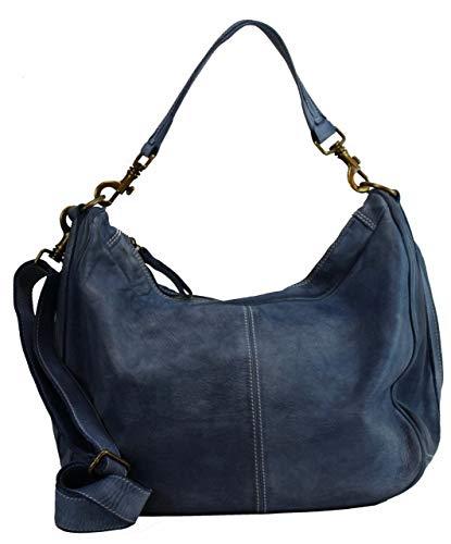 BZNA Bag Sia Jeans Blau Italy Designer Damen Handtasche Schultertasche Tasche Schafsleder Shopper Neu -
