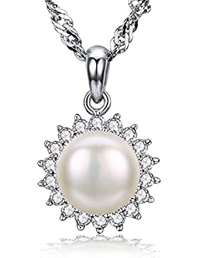 F.ZENI Kette Damen Silber Perle Halskette 925 Sterling Silber funkeln Kubisches Zirkonia Damen Schmuck Natürliche...