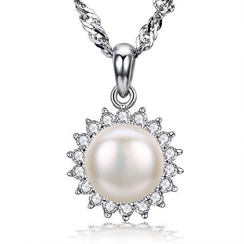 F.ZENI Kette Damen Silber Perle Halskette 925 Sterling -