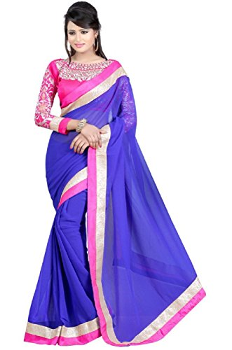RockChin Fashions Blue Saree With Embroidered Blouse