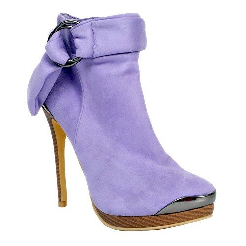 Kolnoo Femmes 13cm slim talon haut plate-forme sangle cheville bottes d'hiver chaussures de fête purple