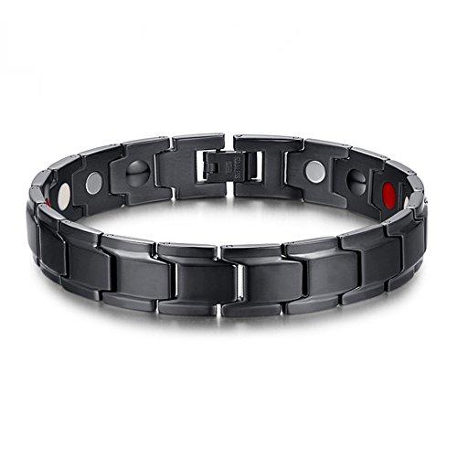 SSC Magnet Armband Edelstahl | schwarz matt/poliert | Magnetarmband (2000+ Gauss) | antiallergener Schmuck (316L Chirurgenstahl) | Ideal als Geschenk [SSC-422QD]