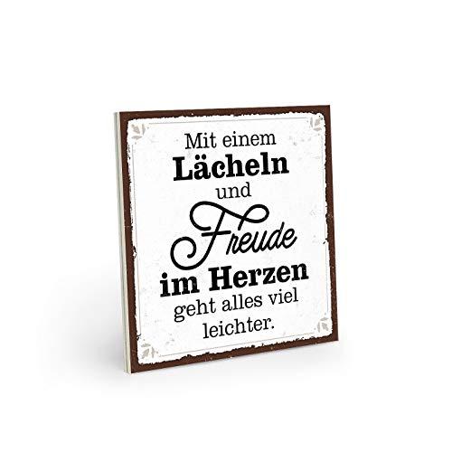 ARTFAVES Holzschild mit Spruch - MIT LÄCHELN UND Freude IM Herzen - Vintage Shabby Deko-Wandbild/Türschild