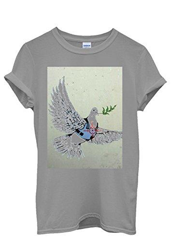 Banksy Peace War Bird Peagon Cool Funny Men Women Damen Herren Unisex Top T Shirt Grau