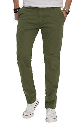A. Salvarini Herren Designer Chino Stoff Hose Chinohose Regular Fit AS016 [AS016 - Gruen - W29 L30] (Hose Grüne Chino)