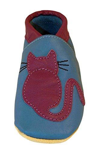Chaussures artisanales Three Little Imps en cuir souple pour bambins - Un chat tout mignon de couleur violette sur fond bleu 18 - 24m (CTPB) bleu