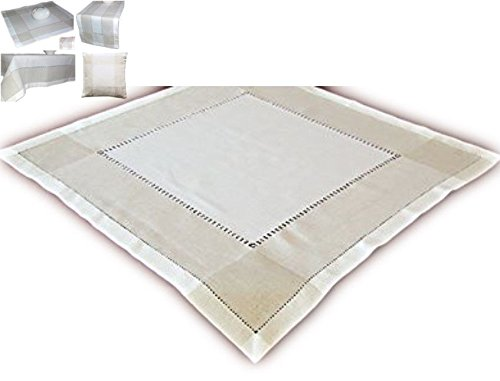 klassische Tischdecke 85x85 cm eckig Leinenoptik Hohlsaum Wollweiß natur schlichte Eleganz (Mitteldecke 85x85 cm quadratisch)
