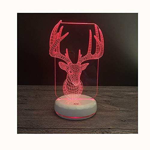 Base Porzellan Lampe (Schreibtischlampen Bunte Touch LED-Vision Nacht Lampe Porzellan weiß Base Elk 3D Lampe)