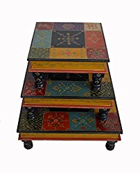 Theshopy Wooden Hand Made Hand Painted Bajot Table 3PCS Set Size:-18x18x6.5 A802
