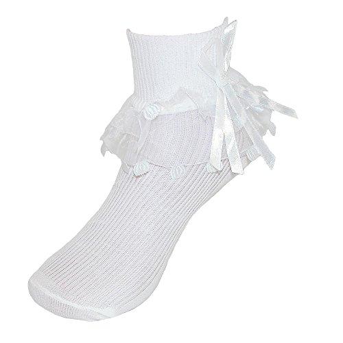 CTM Mädchen Spitze Rüsche Fußkettchen Socke mit Perlen Accent Gr. X-Large, weiß -