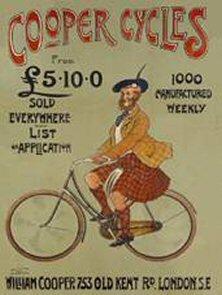 FRANZOSICH VINTAGE METALL BLECHSCHILD 40x30cm RETRO WERBUNG ENGLISCHE FAHRRAD COOPER (Vintage Fahrrad Kennzeichen)