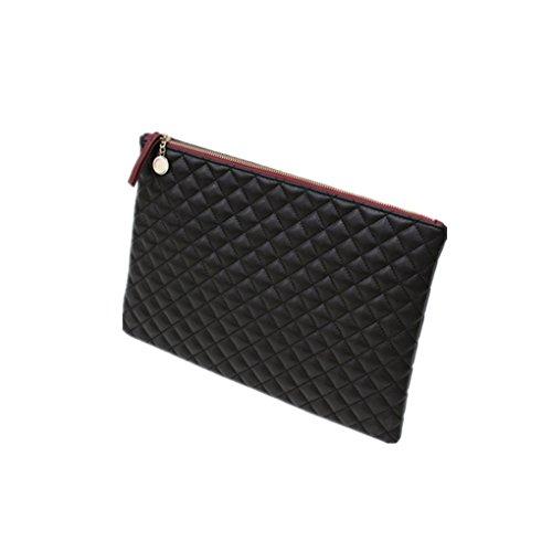 Amily Clutch, Umschlag aus Leder, gesteppt, Rautenmuster, Handtasche, Black Color