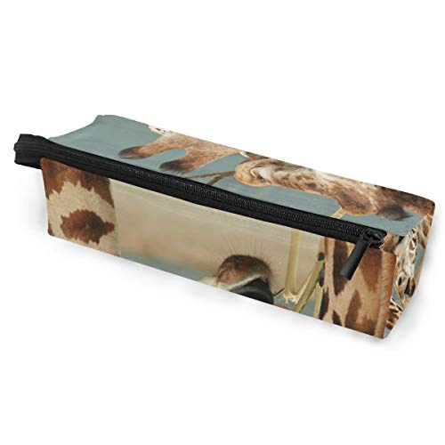 Pencil Bag Pen Case Pouch Giraffe Love Animal Africa Wild Makeup Cosmetic Sunglasses for Girls Boys Travel School Wild One Black Zebra