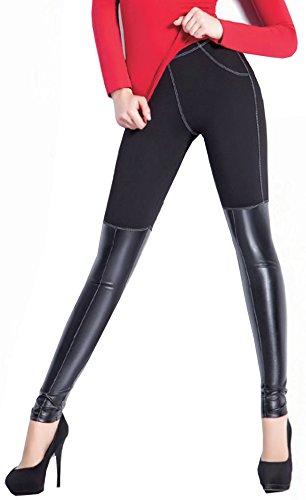 Schwarze Damen-Leggings mit Leder-Applikation