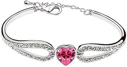 NAKABH Pink Heart Crystal Charm Bracelet for Women