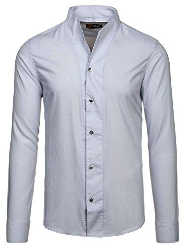 BOLF Camicia – A manica lunga – Con bottoni – Colletto alla coreana – Arrotondata – Slim fit – Casual style – Da uomo 2B2 Grigio