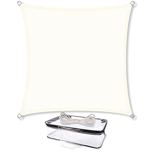 CelinaSun 0010547 Sonnensegel Sonnenschutz Garten | UV Schutz PES wasser-abweisend imprägniert | Quadrat 4 x 4 m creme-weiß