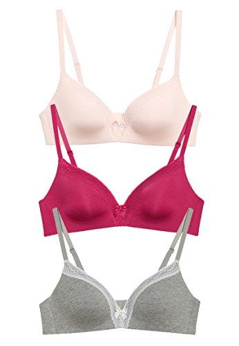 braboo 3er Set Soft BH mit Schleife Spitze Ohne Bügel Rosa Pink Grau (85C)
