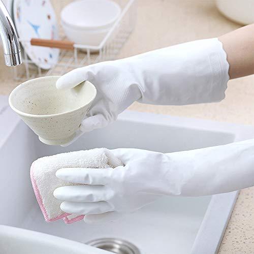 2 x Magic Gloves wasserdichte lange Ärmel Latex Küchenreinigungshandschuhe Waschgeschirr Geschirrspülhandschuhe Hausreinigung Gummi-Werkzeuge - Lange 2x ärmel