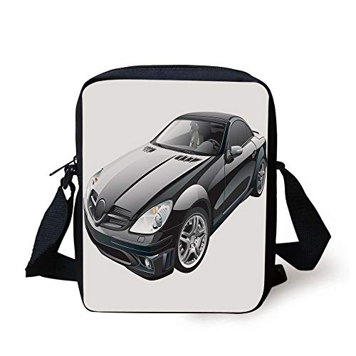 LULABE Cars,Black Modern Sport Car Drive Transportation Automobile Front View Collectors,Black Grey White Print Kids Crossbody Messenger Bag Purse (Automobil-laptop-stand)